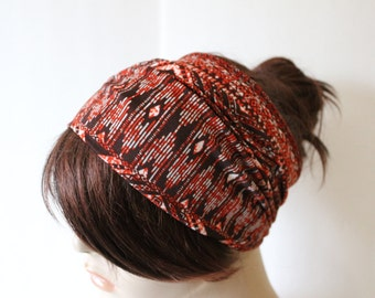 Brown Orange White Tribal Print Turban Head Wrap, Workout Headband, Women's Yoga Headband, Turband Womens Gift for Her Hair Accessories