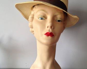 Vintage Accessories / Women's-Girls Straw Panama Boater / 1930's- 40's Ladies Panama Hat