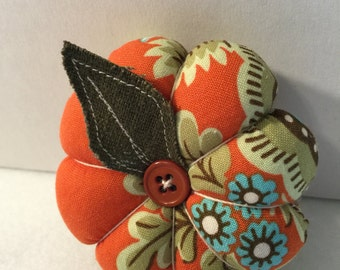 Mini Flower Pin Cushion in Orange