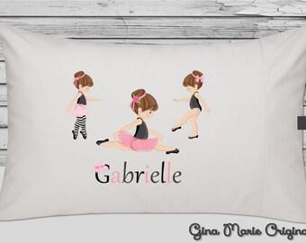 Personalized Pillow Case Pillowcase Ballerina Ballet Pink Girl Toddler Kids Children Birthday Christmas Gift Bedding