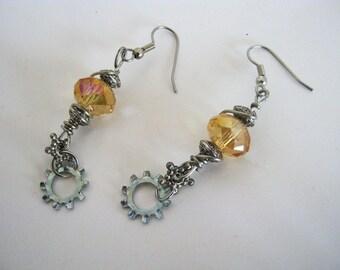 Steampunk Golden  Dangle Gear Wire Wrapped Earrings