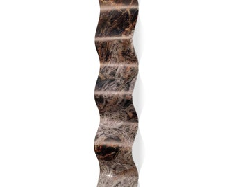 Wavy Metal Art 'Storm Brown Wave' by Emley - Expressionist Wall Sculpture Eclectic Modern Accent on Metal