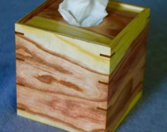Boutique Tissue Box Cover Handmade out of Kentucky Coffee Wood - FREE Shipping To USA