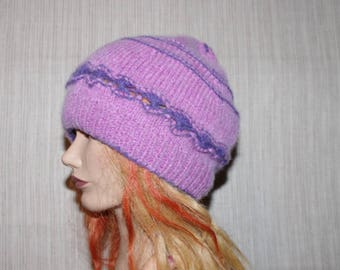 8 Ply Purple  Pink Cashmere Striped Hand Knitted Womens Beanie Hat