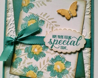 Handmade, Stamped, Layered, Embellished, 3-Dimensional All Occasion Card