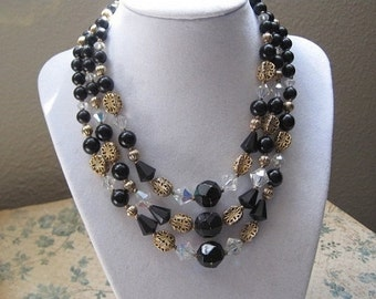Three Strand Beaded Necklace, Vintage Jewelry, Vintage Necklace