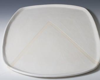 "17.25"" Long Matte White + Raw Porcelain Tray / Platter, Pottery Handmade Ceramic Modern Display, Mountain, Triangle - Organic Shape Gift"