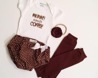 Mommy Needs Coffee Infant and Toddler Set, Coffee Bodysuit, Mommy Needs Coffee, Brown and White Bloomers, Cute Girls Bloomer Set