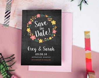 Floral Chalkboard Save the Date cards