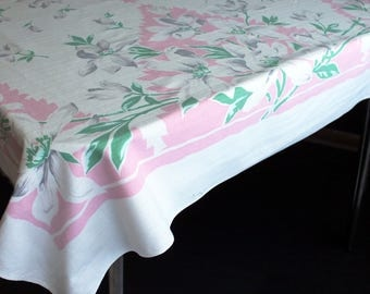 Vintage Square Tablecloth Floral and Leaf Printed Pattern Pink Green Grey Stiped Cotton Table Cloth