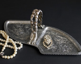 Vintage Mid Century Hammered Aluminum Serving Tray With Pressed Parrot Tulips and Floral Handle by Rodney Kent Creations Tidbit Server
