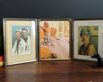"""Vintage 8 x 10"""" Triple Picture Frame Hinged Gold Tone Metal Decorative Photo Frame"""