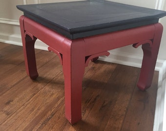 Vintage Table Asian Inspired Cinnabar Wooden Coffee Table Chinoiserie Chic Bowed Leg Eclectic Furnishings