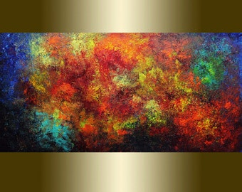 Acrylic painting abstract red and yellow rusty.