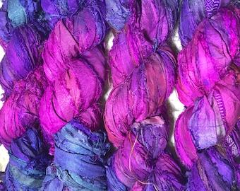 Recycled Sari Silk Ribbon Yarn / 3.5 OZ / 100Grams / 50 yards Bulky / P005