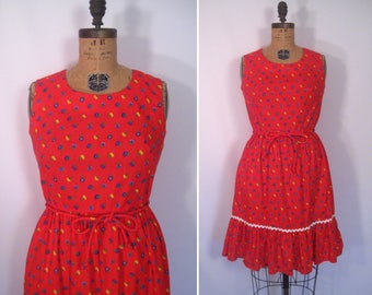 1950s flower print swirl wrap dress • 50s red ditsy floral print sundress  • vintage some of these days dress