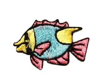 ID 0270A Cartoon Angle Fish Swimming Patch Tropical Pet Emblem Iron On Applique