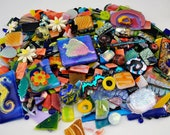 Mosaic Pieces, 2.6 + Pounds, Fused Glass, Mosaic Tiles, Handmade Glass Pieces, Dichroic Cabochons, Cut Out Pieces, Pattern Glass And More