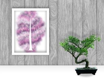 Tree on Purple Digital Art Print