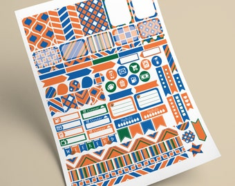 INSTANT DOWNLOAD - Printable Planner Stickers  -  Florida Gators - Orange, Blue and White