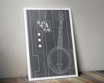 11X14 Banjo Print with Illustration