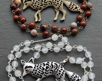 Spirit of the Red or Arctic Fox Witch's Ladder/Druid's Ladder/Prayer Beads/Necklace. Pagan Druid Shaman Witch Totem Power Animal