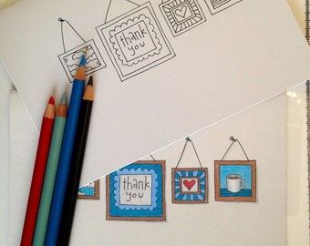 Gallery Wall Thank You Coloring Card, 5x7