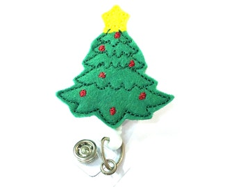 Christmas Tree - Cute Badge Reels - Unique Retractable ID Badge Holder - Felt Badge Reel - Peds RN Badge - BadgeBlooms