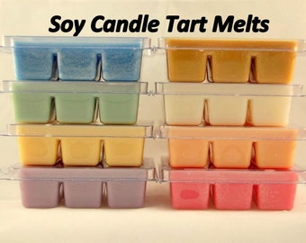 Candle Wax Melts - 6 pack of break away tarts - 100% Soy Wax - 4oz in wax - Candle Tarts - Soy Tart Melts - Tart Clamshells - Soy Wax Candle
