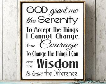 Serenity Prayer Printable Subway Art Wall Art Digital Download jpg God Grant Me the Wisdom 16x20 8x10 A4 11x14 5x7 SALE Great Gift