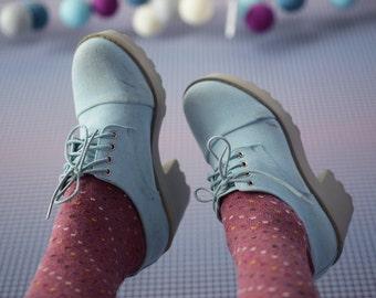 90s vintage light blue denim canvas platform heel round toe sneakers ankle boots Size 36 6