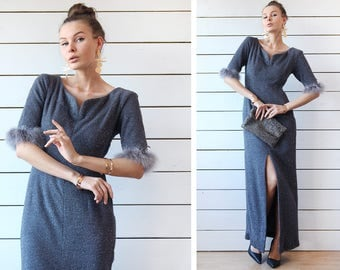 Vintage shiny grey ostrich feather trim short sleeve deep front slit fitted maxi dress M