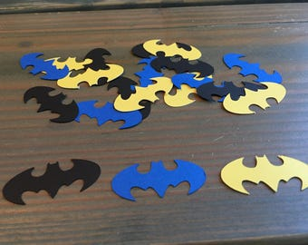 100 batman confetti, yellow, black, blue, birthday party, superhero party, baby shower, gender reveal