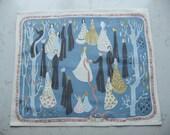 Vintage Swedish printed cotton tapestry - Wedding waltz - Signed KLH I.P.