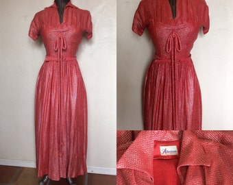 Fabulous 1940's Red & Silver Lurex show stopping Party Dress Bombshell Pinup VLV S-M