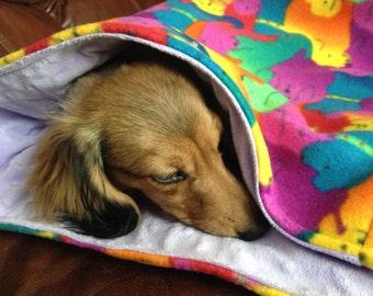 RAINBOW Dogs Fleece Snuggle Sack-Warmer~Sausage dog~Dachshund~Cat Cave~Doxie Warmer~Burrow Bag~Purple-Green~Blue~Orange~Wiener Dog