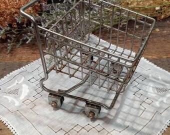 Vintage Toy Shopping Cart / Basket / Miniature / Kitschy / Desk Organizer / Kitchen / Home / Office Decor / Rusty