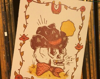 Woodcut Art Print - Sangin' Cowboy