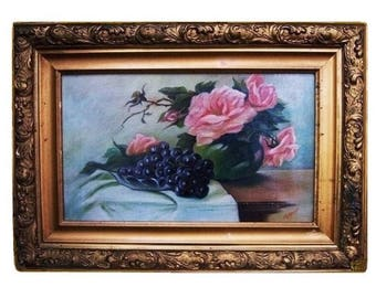 Antique Signed Nyquist French Country Still Life Oil Canvas Painting 1800s Victorian Cottage Pink Roses Botanical Original Ornate Frame