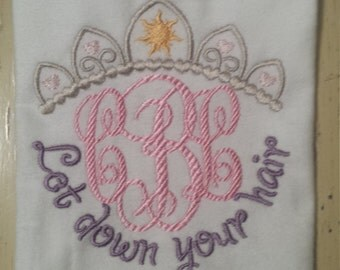 """Rapunzel inspired """"let down your hair"""" machine embroidered shirt....birthday...Rapunzel....tangled...Disney"""