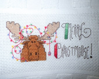 "XL MERRY CHRISTMOOSE Kitchen Towel Huge 19.5x32"" Christmas Completed Cross Stitch Guest Bath Holiday Gift Bathroom Moose with Lights"