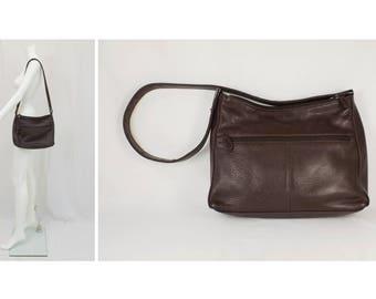 AURIELLE Dark Chocolate Brown Leather Shoulder Purse