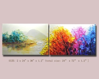 contemporary wall art,, Modern Textured Painting,Impasto  Landscape  Textured Modern Palette Knife Painting,Painting on Canvas by Chen 0320