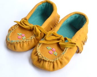 Native American Leather Baby Moccasins -