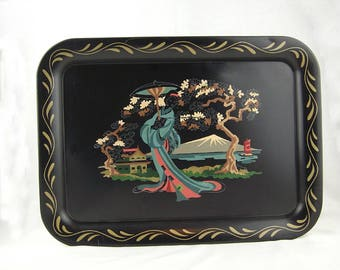 Vintage Tole Craft Paint by Number Metal Tray, Asian Woman in Garden, Geisha Girl, PBN, Mid Century