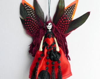 Ladybird Day of the Dead fairy peg doll, Ladybug Fairy decoration, OOAK, unique gift