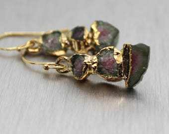 Balance earrings, tourmaline earrings, dangle earrings, gold earrings, raw tourmaline, raw gemstone, gift for her, watermelon tourmaline