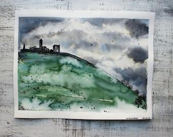 Irish castle original watercolor painting 10x13 Rock of Cashel