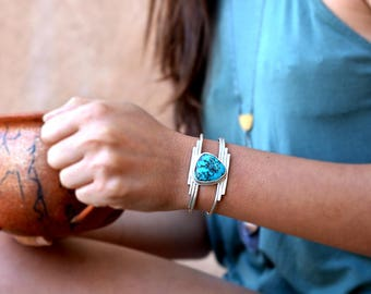 Zia cuff - recycled sterling silver and old mined Kingman turquoise