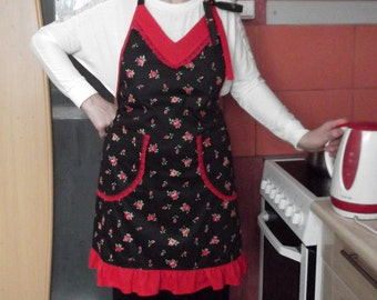 Women full apron with ruffles Mother's day gift for hostess black cotton with roses pattern